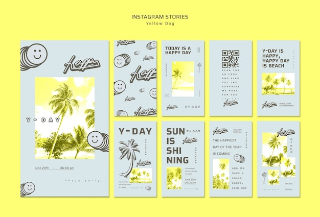 Yellow day instagram stories concept