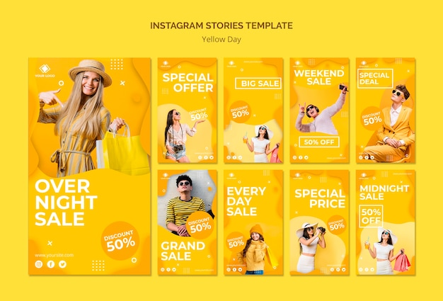 Yellow day instagram stories template
