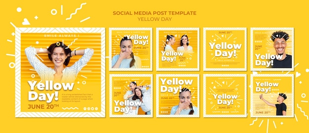 Yellow day social media posts template