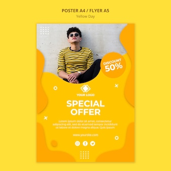 Yellow day special offer poster template