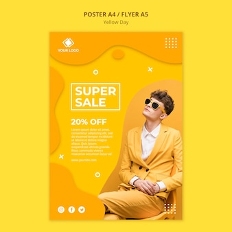 Yellow day super sale flyer template