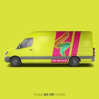 Yellow delivery van mockup