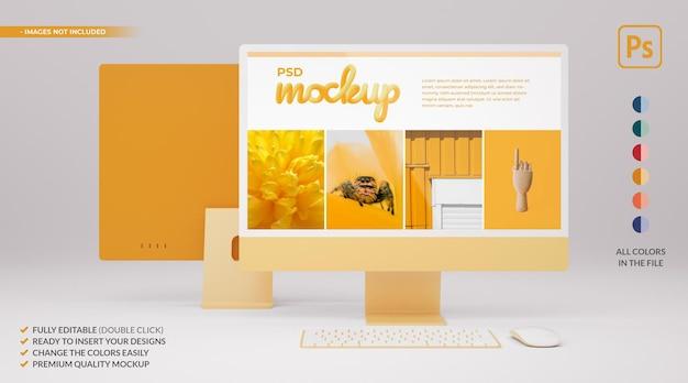 3dレンダリングでのwebデザインプレゼンテーション用の黄色いデスクコンピューターモニターモックアップ