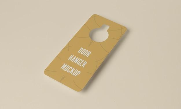 Yellow door hanger for privacy mockup