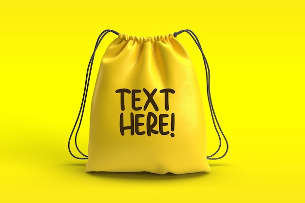 Yellow drawstring bag mockup isolated