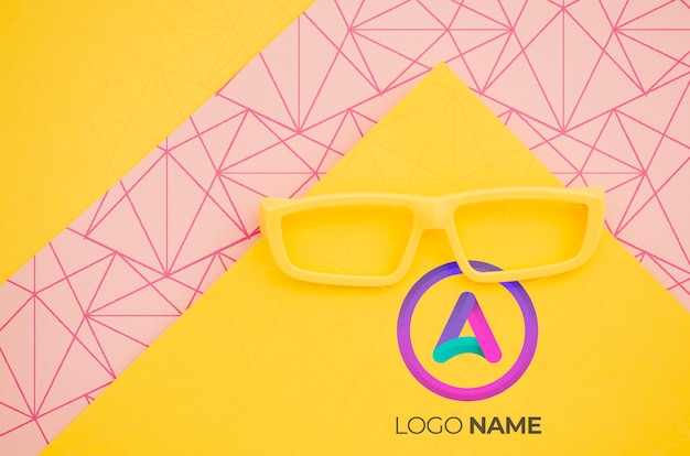 Yellow glasses with minimalist logo design