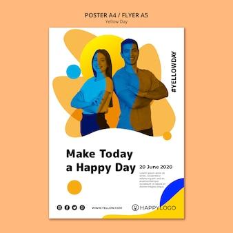 Желтый флаер шаблон дня счастья