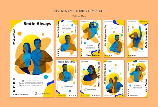 Yellow happy day instagram stories template