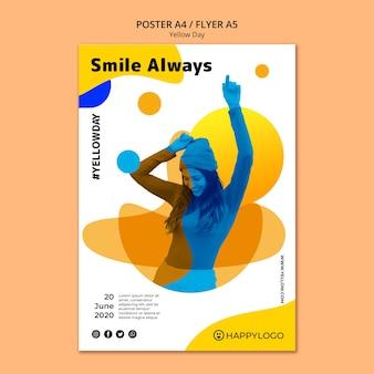 Желтый счастливый день улыбка всегда плакат