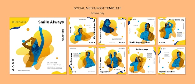 Yellow happy day social media post template