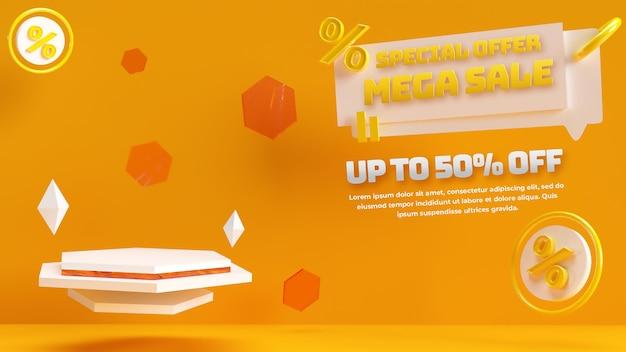 ディスカウントセール商品の広告とブランドアイデンティティのための黄色いホニー3d編集可能な表彰台