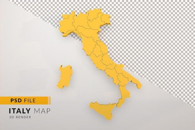 Желтая карта италии 3d визуализации, изолированные с видом сверху регионов италии