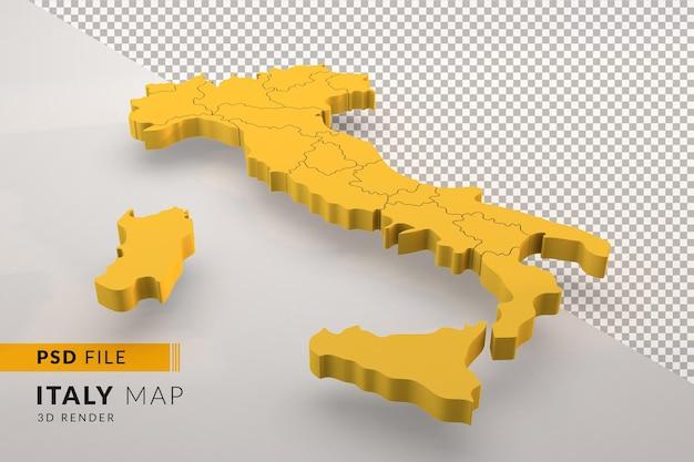 Желтая италия карта 3d визуализации, изолированные с итальянскими регионами