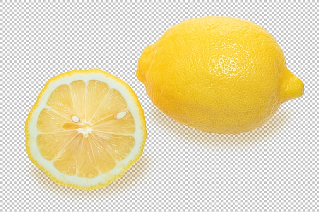 투명에 고립 된 노란 레몬