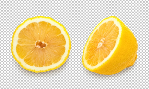 Yellow lemons on isolated transparency background