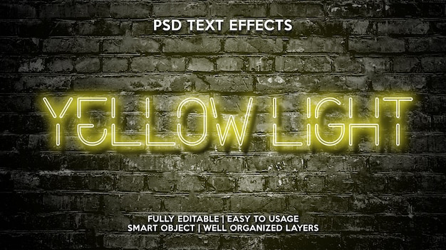 Yellow light text effects