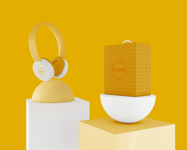 Yellow minimalistic headphones wireless