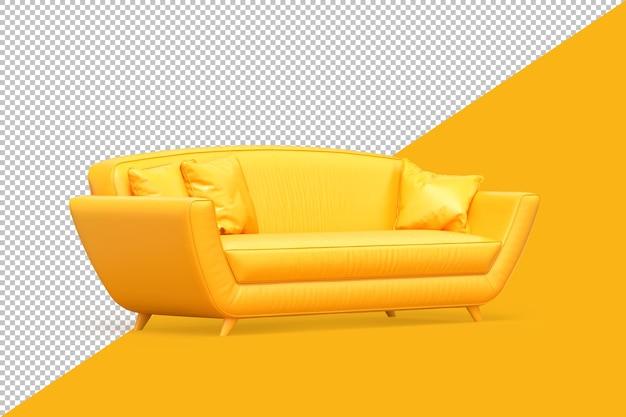 노란색 바탕에 노란색 최소한의 소파입니다. 3d 렌더링