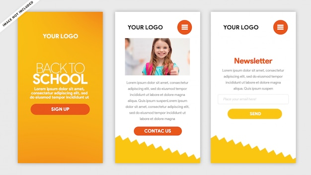 Yellow mobile template back to school