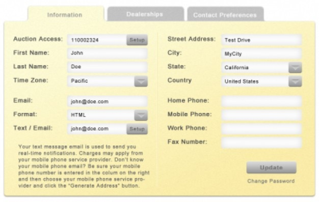 Yellow mock up user interface
