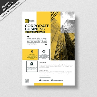 Yellow modern style design corporate flyer template