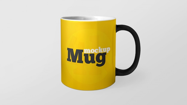 Yellow mug with editable color mockup