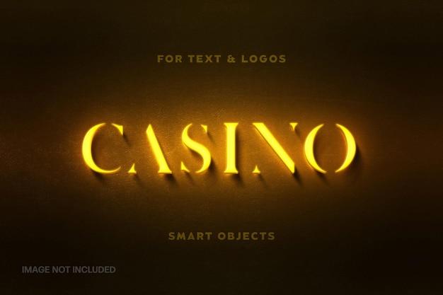 Желтый неоновый логотип макет