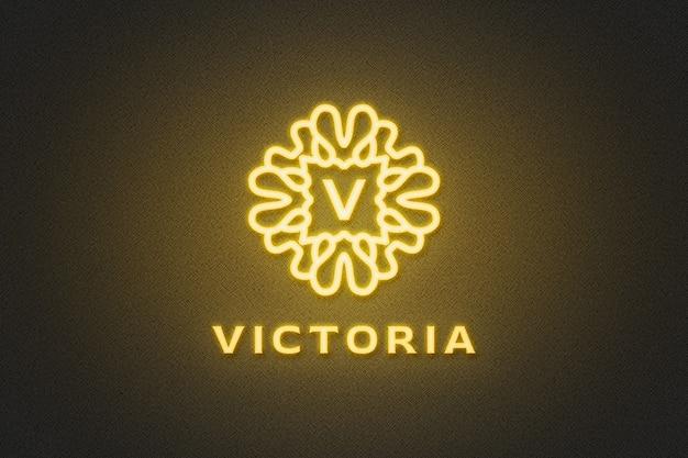 Мокап желтого неонового логотипа