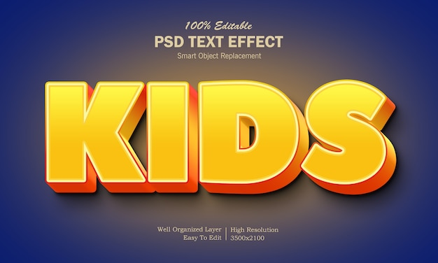 Yellow and orange color kids text effect