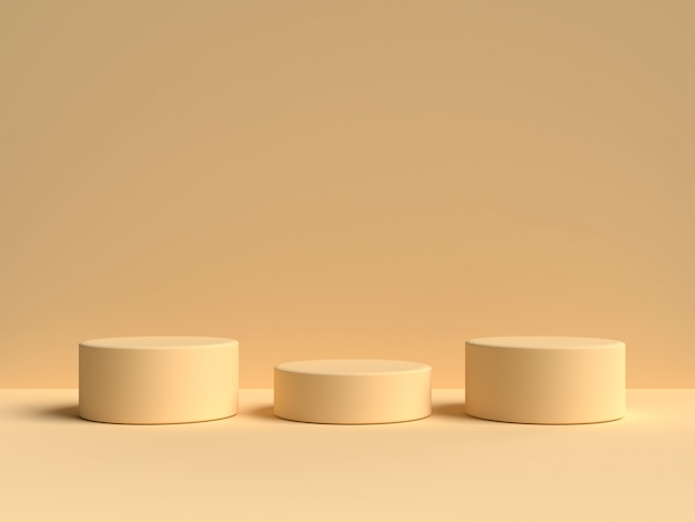 ํyellow pastel product stand on background. abstract minimal geometry concept.3d rendering