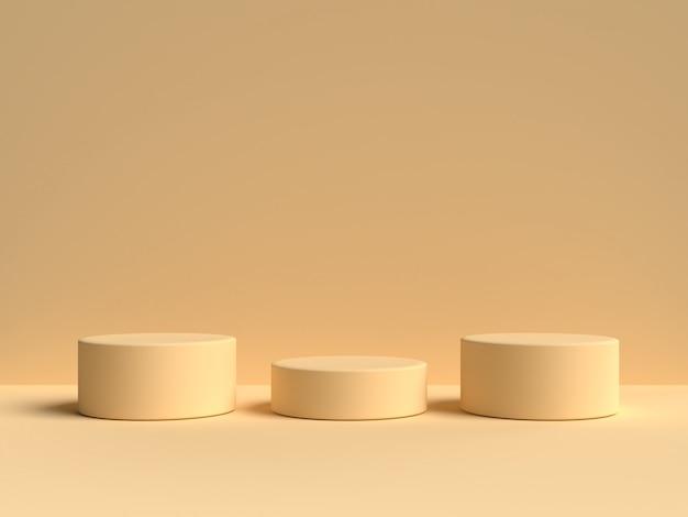 Background黄色のパステル製品が背景に立っています。抽象的な最小限の幾何学の概念.3 dレンダリング