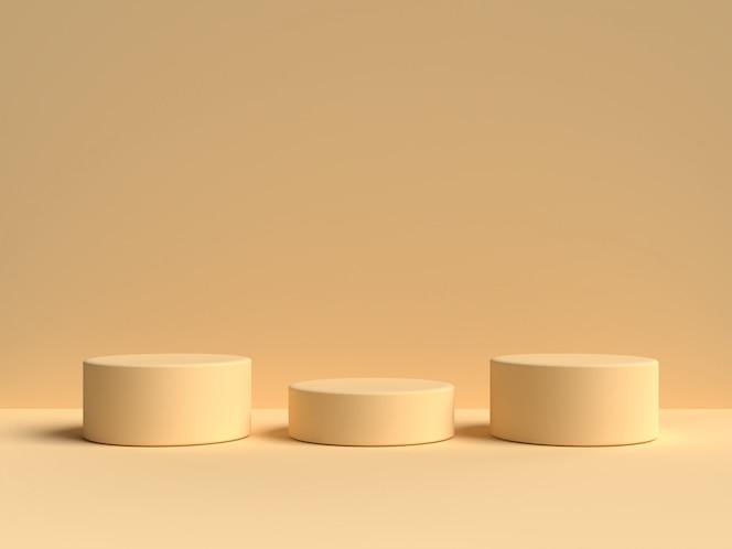Stand желтая пастель продукта на фоне. абстрактная минимальная геометрия concept.3d рендеринг