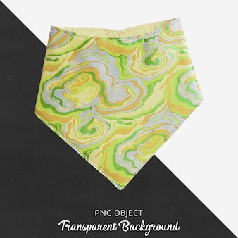 Yellow patterned bandana on transparent background