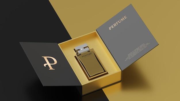 Макет черной упаковки желтого флакона для презентации фирменного стиля 3d визуализации