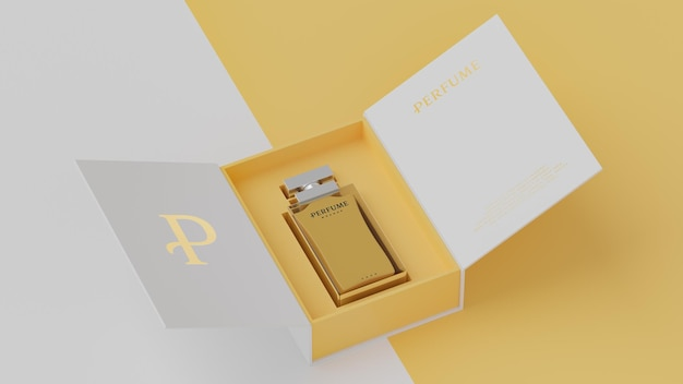 Макет белой упаковки желтого флакона для презентации фирменного стиля 3d визуализации