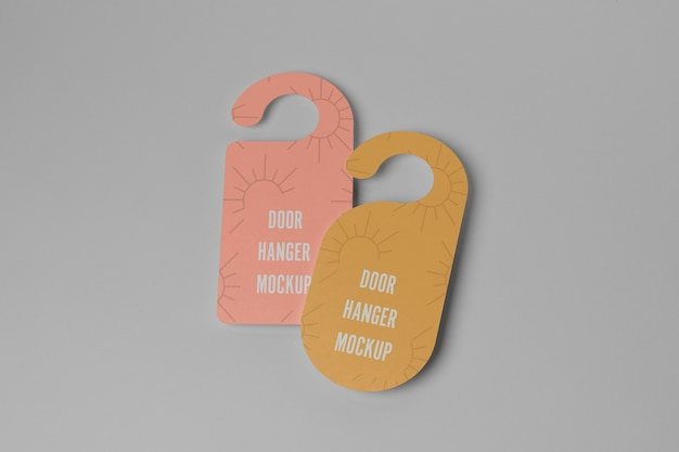 Yellow and pink door hangers for privacy