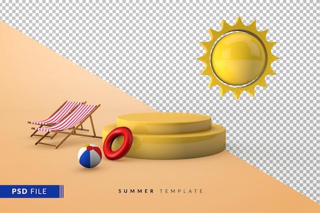 Желтый подиум для презентации продукции с летними аксессуарами