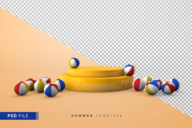 Желтый подиум с пляжными мячами на земле летом