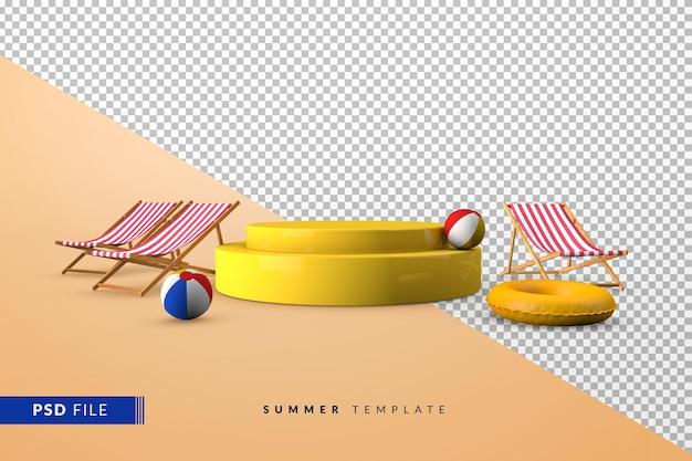 Желтый подиум с летними аксессуарами и 3d пьедесталом