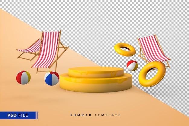 Желтый подиум с летними аксессуарами, плавающий и 3d пьедестал