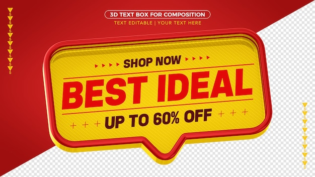 Yellow and red 3d text box best ideal up to 60% off