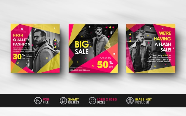 Yellow red instagram social media post banner template