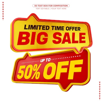 Yellow and red text boxes with big sale text with up to discount