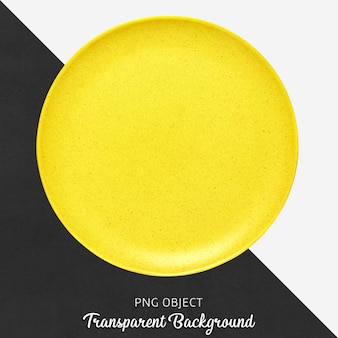 Yellow round ceramic plate on transparent background