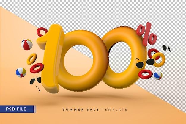 Желтая распродажа 100% скидка на рекламные летние аксессуары 3d визуализации