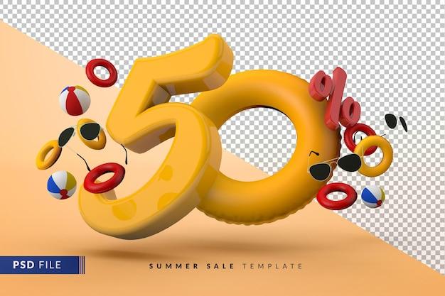 Желтая распродажа со скидкой 50% на рекламные летние аксессуары 3d визуализации