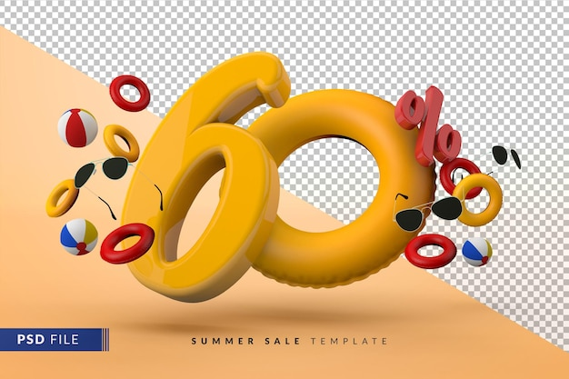 Yellow sale 60 percent off promotional summer accessories 3d render