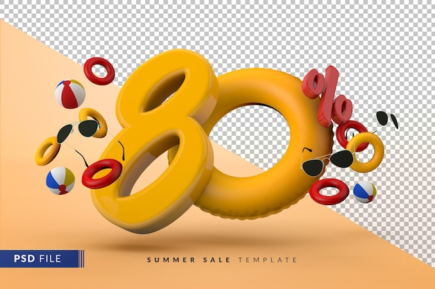 Yellow sale 80 percent off promotional summer accessories 3d render