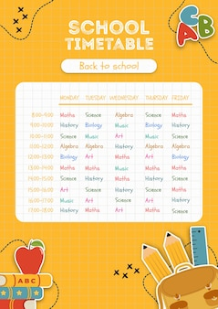 Yellow school timetable template
