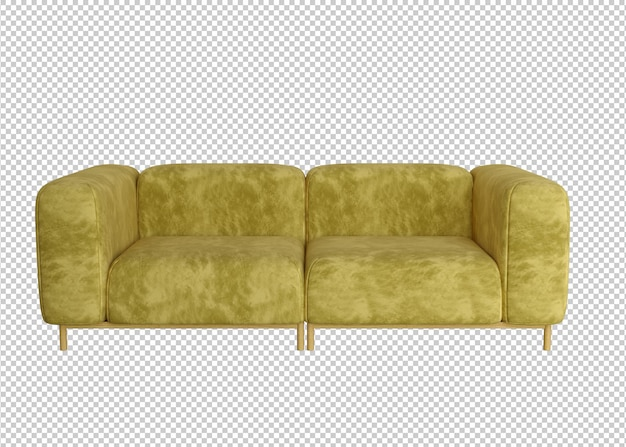 노란 소파 3d 렌더링